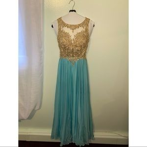 Turquoise/gold prom dress